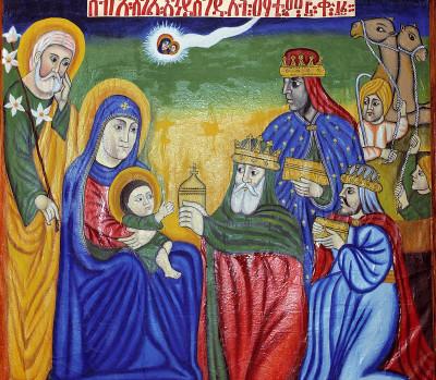 ART RELIGIEUX : LA VIE DE JESUS - PEINTURES MURALES INTERIEURES DU MAUSOLEE DE MENELIK II A ADDIS ABEBA ( ETHIOPIE )